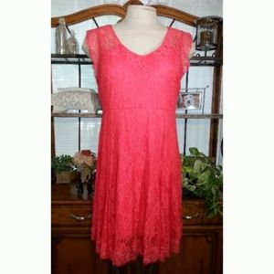 Torrid Coral Lace Mid Length Dress